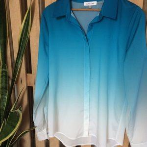 CK long sleeved blue ombré button up blouse